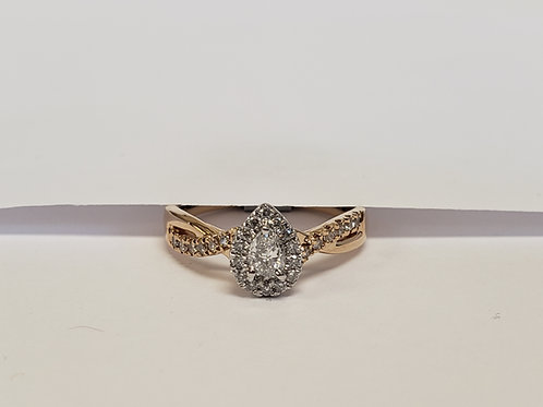 Pear Halo Engagement Ring W/ a Side Stone Twist