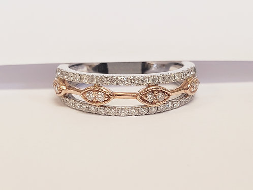 3 Row White and Yellow Gold Diamond Band