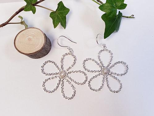 Large Flower Dangle Earrings & Pendant W/Pearl