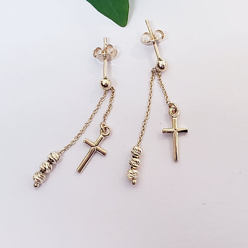 Double Strand Cross & Ball Dangle Earrings