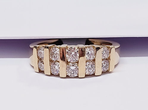 Channel Set Yellow or White Gold Diamond Band