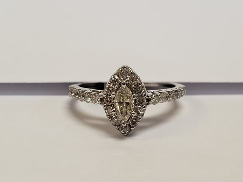 Marquise Halo Engagement Ring W/ Side Stones