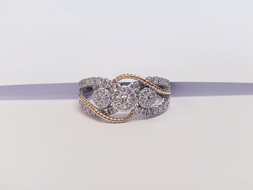 3 Diamond Cluster Band W/ Yellow Gold Twist Accents