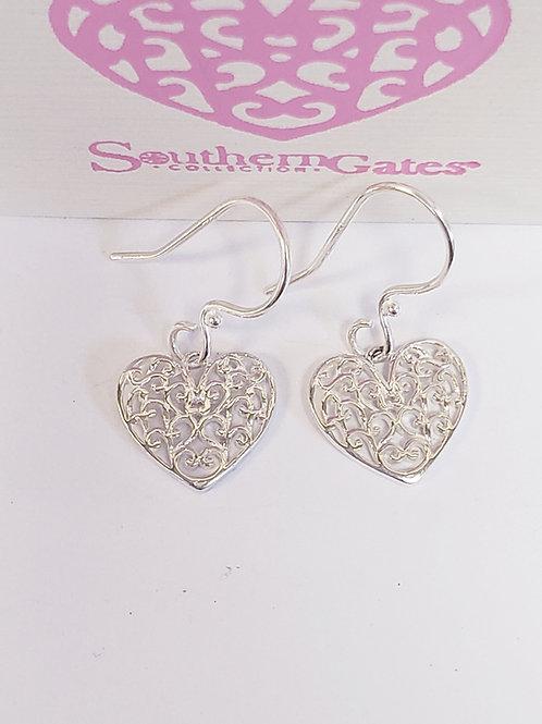 Filigree Heart Dangle Earrings