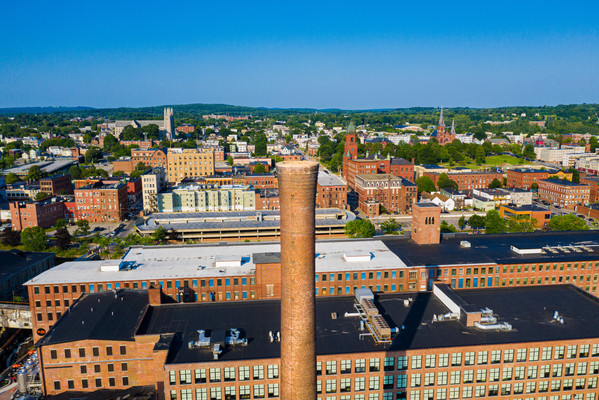 Aerial Photo of Lewiston Maine Mill Stac