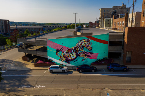 Aerial Photo of Lewiston Maine Art Mural
