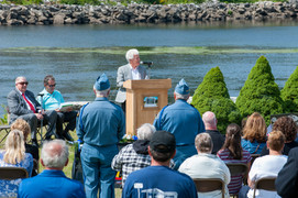 Paul giving a speech at a dedication at Veterans Memorial Park in Lewiston, Maine.