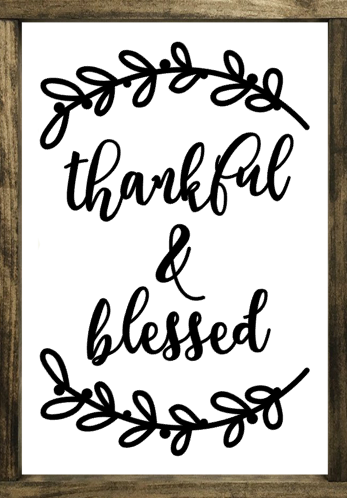 Thankful & Blessed with Bay Leaves - Framed