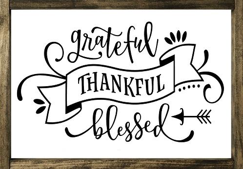 Grateful, Thankful, Blessed - Framed