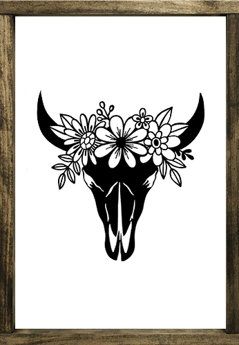 Cow Skull with Flowers - Framed