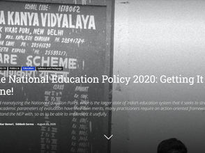 The National Education Policy 2020: Getting It Done!