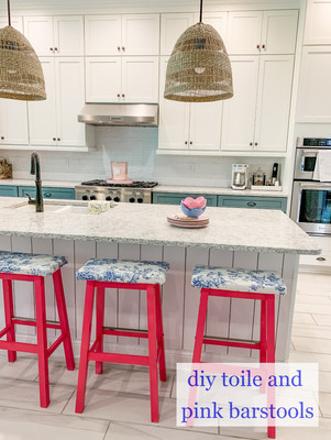 DIY Toile and Pink Barstools