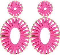 Pink raffia earrings