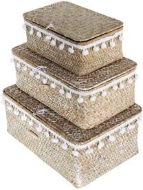 Natural Grass Storage Bins with Pom Poms