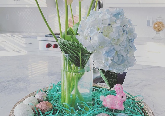 Hydrangeas and tulips