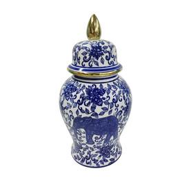 Blue and gold ginger jar