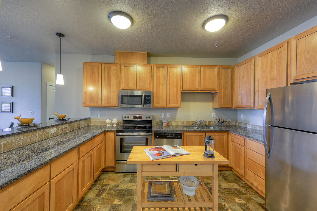 Spacious kitchen with granite