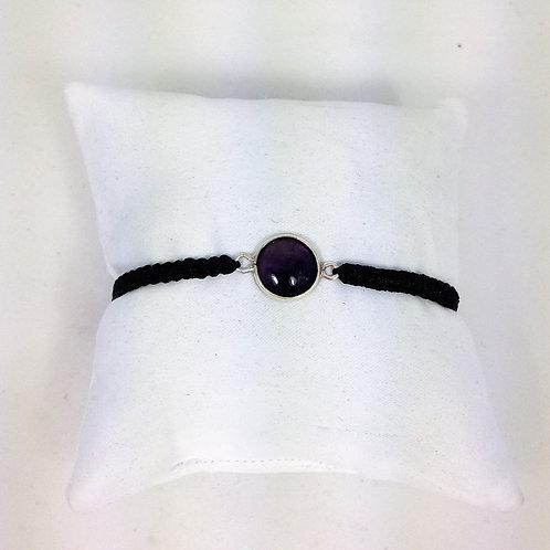 bracelet tourmaline noire et argent tressé