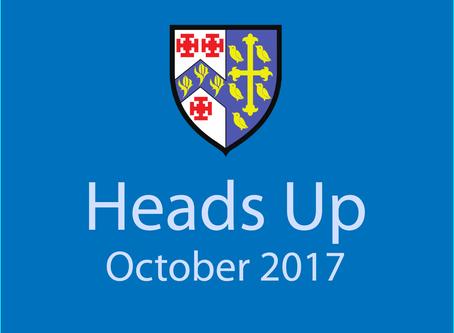 Heads Up Newsletter: October 2017