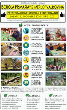 """OPEN DAY SABATO 12 DICEMBRE 2020 - SCUOLA PRIMARIA """"G. MERLO"""" VALROVINA"""