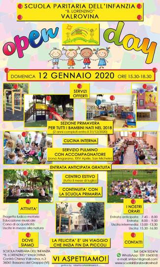 """Open Day 12 Gennaio 2020 - Scuola paritaria dell'infanzia """"B. Lorenzino"""" Valrovina"""