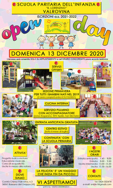 """OPEN DAY - DOMENICA 13 DICEMBRE 2020 -  SCUOLA PARITARIA DELL'INFANZIA """"B. LORENZINO"""" VALROVINA"""