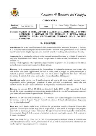 Tagli di siepi, arbusti - Ordinanza 11/01/2021