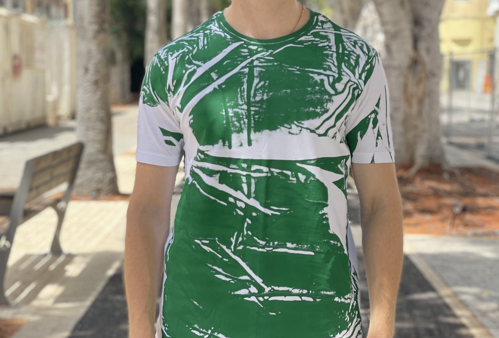 UPCYCLED T-SHIRT - GREEN/BLUE