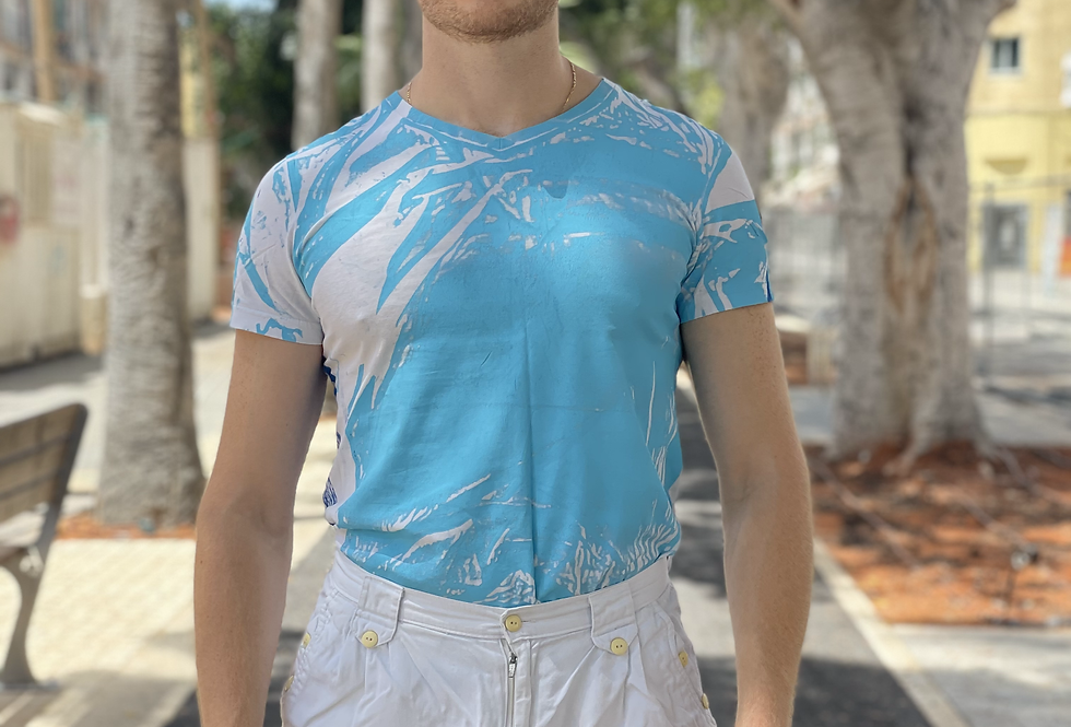 UPCYCLED T-SHIRT - LIGHT BLUE/BLUE