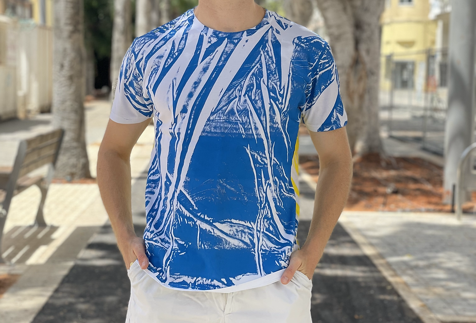 UPCYCLED T-SHIRT - BLUE/YELLOW