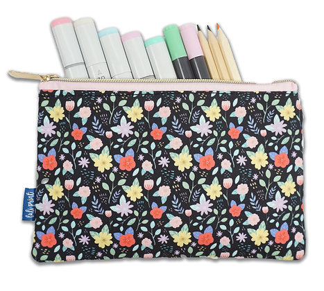 Floral Pencil Pouch - Black