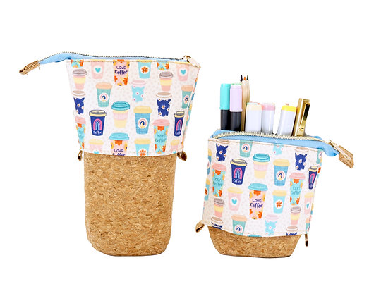 Expandable Coffee Pencil Pouch