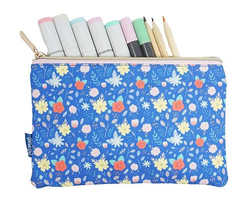 Floral Pencil Pouch - Royal Blue