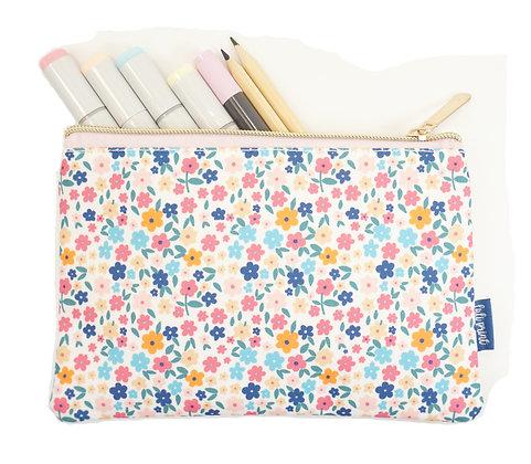 Floral Pencil Pouch - White