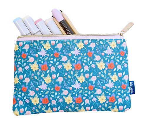 Floral Pencil Pouch - Turquoise