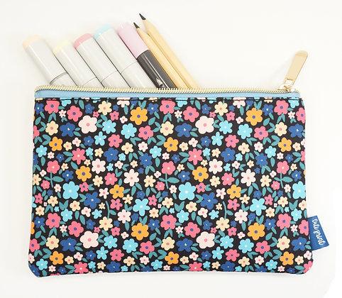 Floral Pencil Pouch - Navy