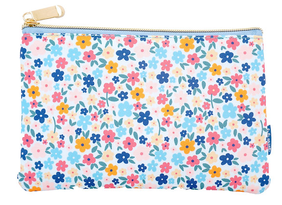 Floral Pencil Pouch - Sky Blue