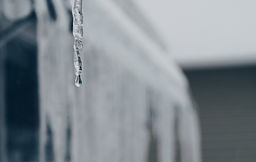 icicle - a hanging, tapering piece of ice formed by the freezing of dripping water.