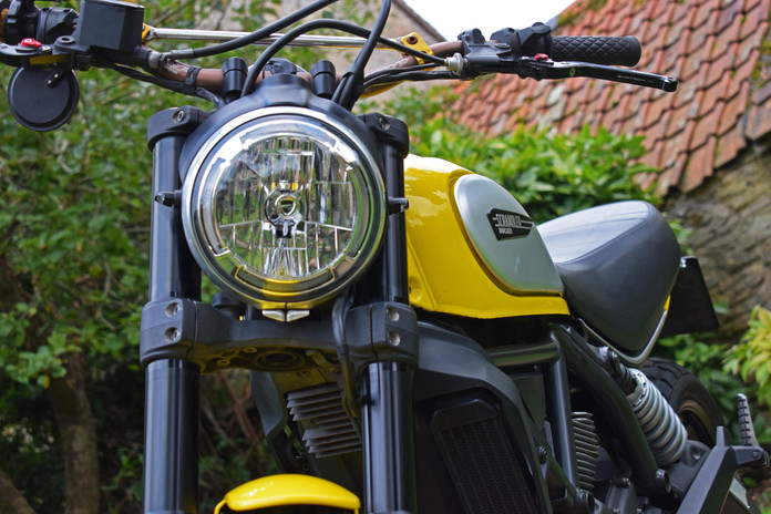 Used Ducati Scrambler for sale northampton bike sanctuary icon yellow headlight logo suspe