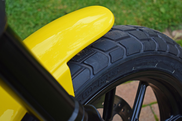Used Ducati Scrambler for sale northampton bike sanctuary icon yellow new front tyre.jpg