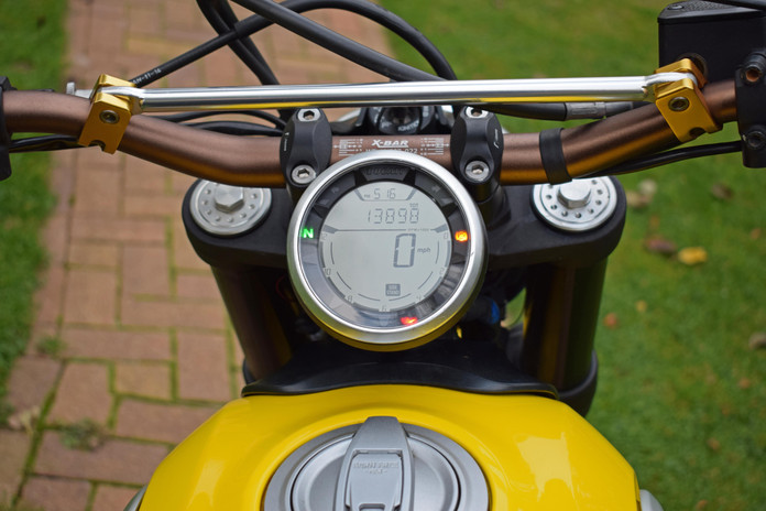 Used Ducati Scrambler for sale northampton bike sanctuary icon yellow clocks dials cockpit