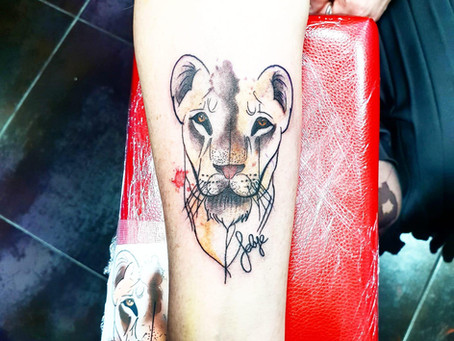 #129 tatouage lion | Magic Circus