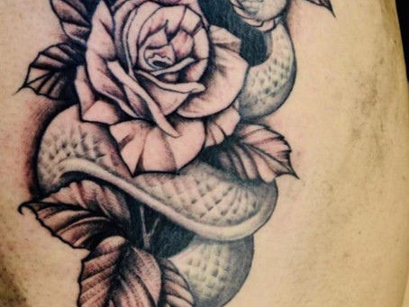 #1082 tattoo serpent rose | AMERICAN BODY ART