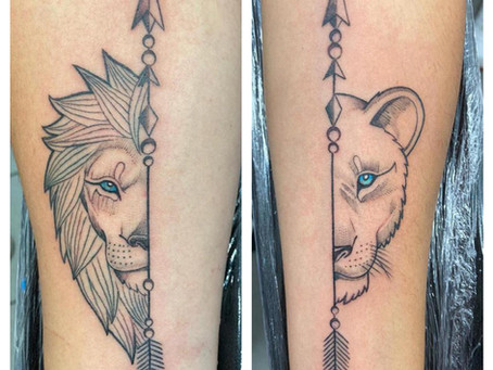 #1198 Tatouage Lion et Lionne   AMERICAN BODY ART