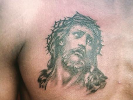 #1193 Tatouage Jesus réaliste   AMERICAN BODY ART