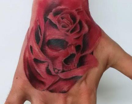 #897 Tatouage Skull roses - American Body Art