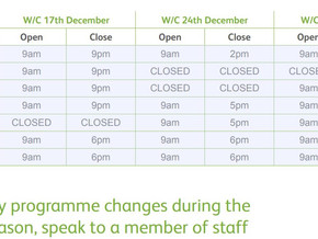 Festive Opening Times – Sutcliffe Park