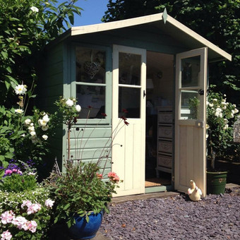 Original Green Shed and Summer Flowers