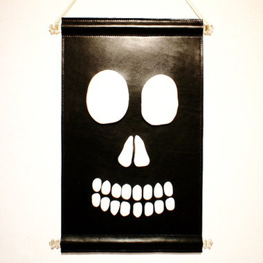 Skull leather tapestry