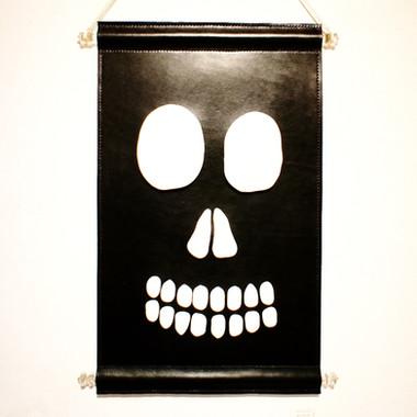 Skull leather tapestry
